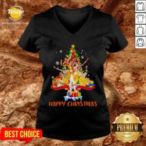 Freddie Mercury Happy Christmas Tree V-neck - Design By Potatotees.com