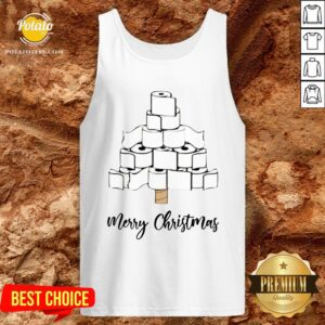 Funny Toilet Paper Christmas Tree Tank Top - Design By Potatotees.com