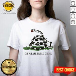 Gadsden Flag Oh Please Tread On Me V-neck - Design By Potatotees.com