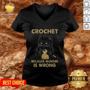 Good Black Cat Crochet Because Murder Is Wrong V-neck - Design By Potatotees.com