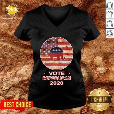 Good Vote Republican 2020 US Flag V-neck - Design By Potatotees.com