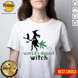 Good Weed Worlds Dopest Witch V-neck - Design By Potatotees.com