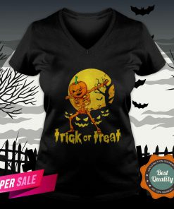 Halloween Trick Or Treat Jack O Lantern Pumpkin V-neck