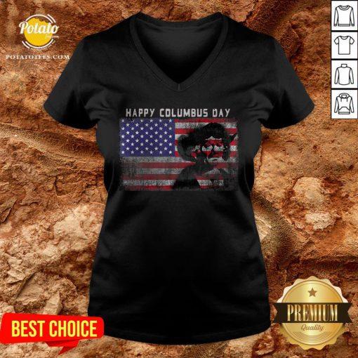 Happy Columbus Day Italian Explorer America Discovery V-neck - Design By Potatotees.com