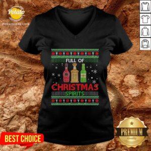 Happy Full Of Christmas Spirits V-neck - Design By Potatotees.com