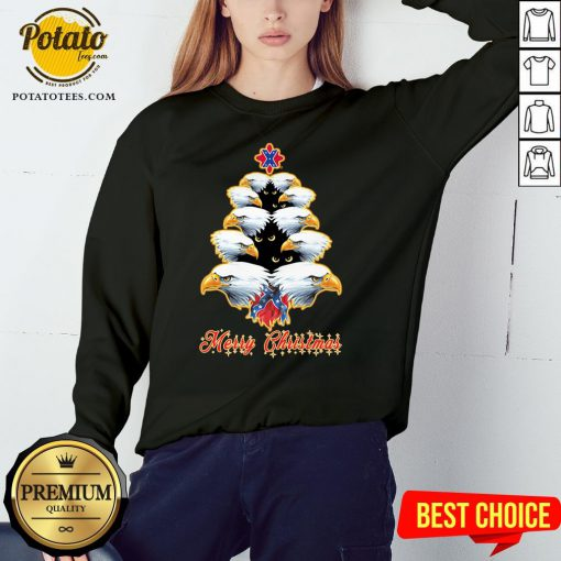 Happy Merry Christmas Tree Eagles British Flag Sweatshirt - Design By Potatotees.com