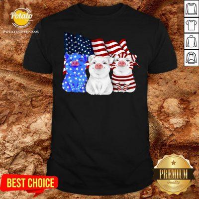 Happy Pigs American Flag Shirt - Design By Potatotees.com