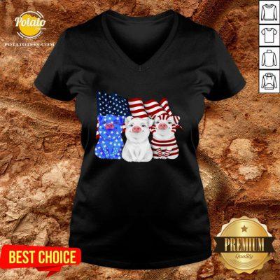 Happy Pigs American Flag V-neck - Design By Potatotees.com