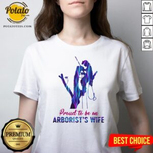 Happy Proud To Be An Arborist's Wife Hologram V-neck - Design By Potatotees.com