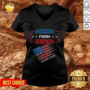 Hidin From Biden Trump 2020 America Flag V-neck