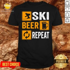 Hot Awesome Ski Beer Repeat Downhill Skiing Shirt - Design By Potatotees.com