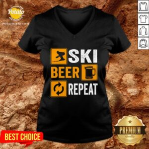 Hot Awesome Ski Beer Repeat Downhill Skiing V-neck - Design By Potatotees.com