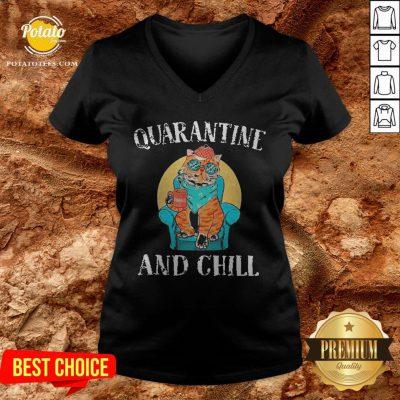 Hot Cat Quarantine And Chill 2020 V-neck - Design By Potatotees.com