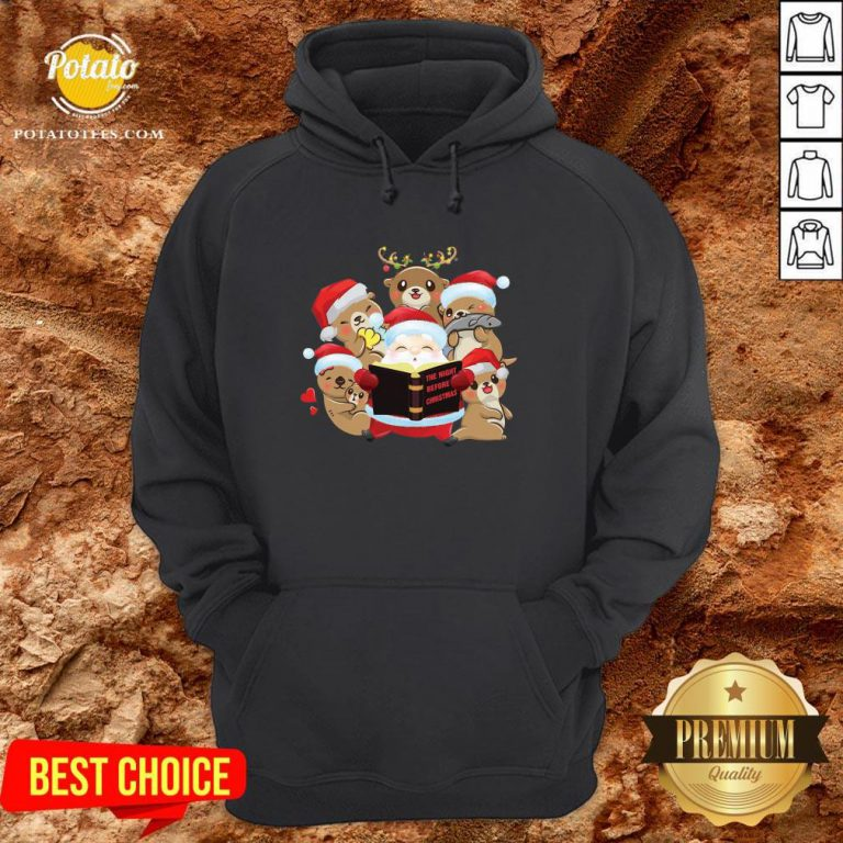 Hot Santa And Sloth Reindeer The Night Before Christmas Hoodie - Design By Potatotees.com