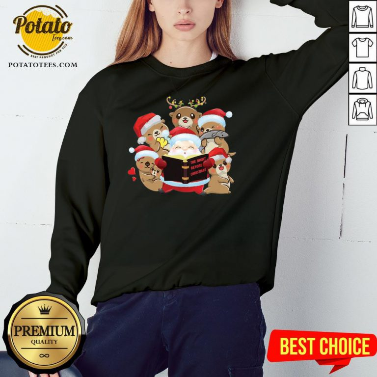 Hot Santa And Sloth Reindeer The Night Before Christmas Sweatshirt - Design By Potatotees.com