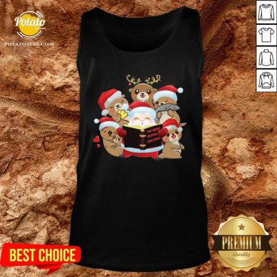 Hot Santa And Sloth Reindeer The Night Before Christmas Tank Top - Design By Potatotees.com