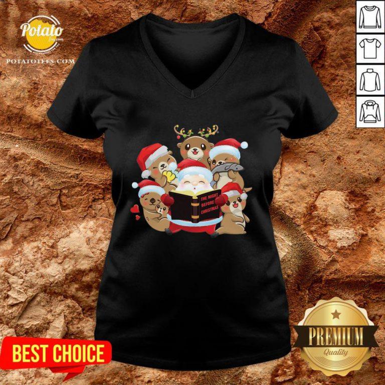 Hot Santa And Sloth Reindeer The Night Before Christmas V-neck - Design By Potatotees.com