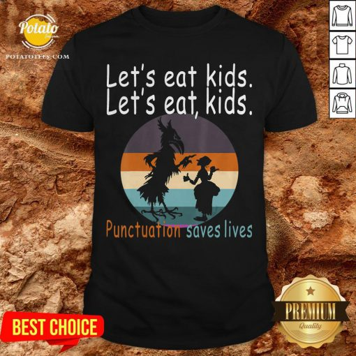 Lets Eat Kids Punctuation Saves Lives Teacher Halloween Vintage Retro Shirt - Design By Potatotees.com