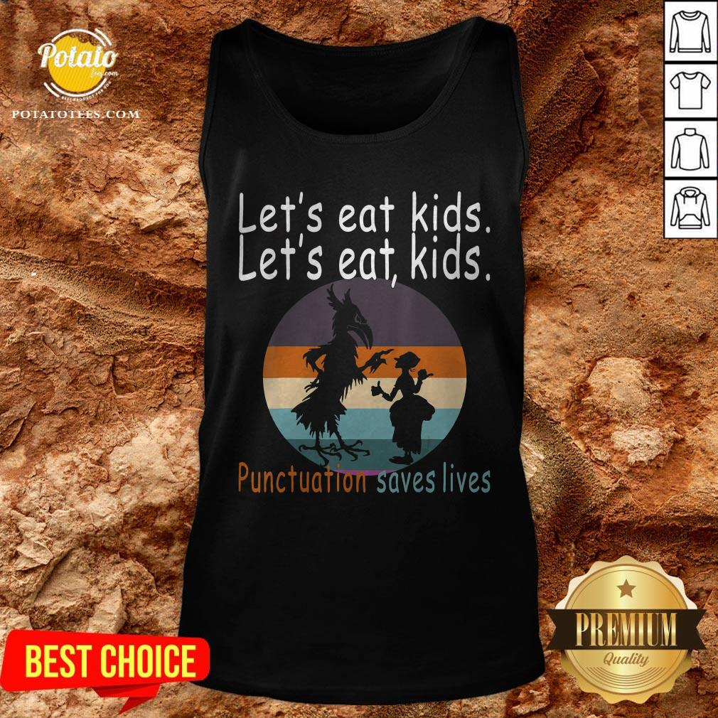 Lets Eat Kids Punctuation Saves Lives Teacher Halloween Vintage Retro Tank Top - Design By Potatotees.com