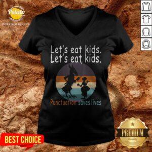 Lets Eat Kids Punctuation Saves Lives Teacher Halloween Vintage Retro V-neck - Design By Potatotees.com