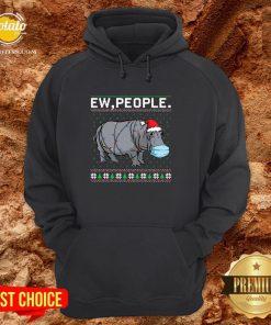 Love Hippopotamus Face Mask Ew People Ugly Christmas Hoodie - Design By Potatotees.com