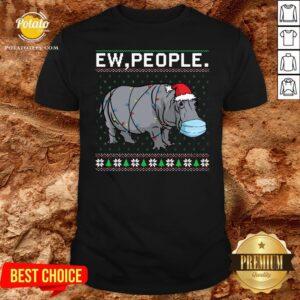 Love Hippopotamus Face Mask Ew People Ugly Christmas Shirt - Design By Potatotees.com