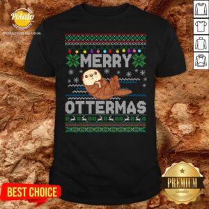 Love Merry Ottermas Ugly Christmas Shirt - Design By Potatotees.com