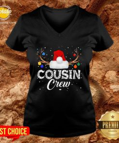 Love Xmas Christmas Cousin Crew 2021 V-neck - Design By Potatotees.com