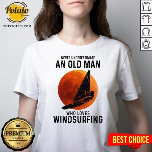Never Underestimate An Old Man Who Loves Windsurfing Moon V-neck