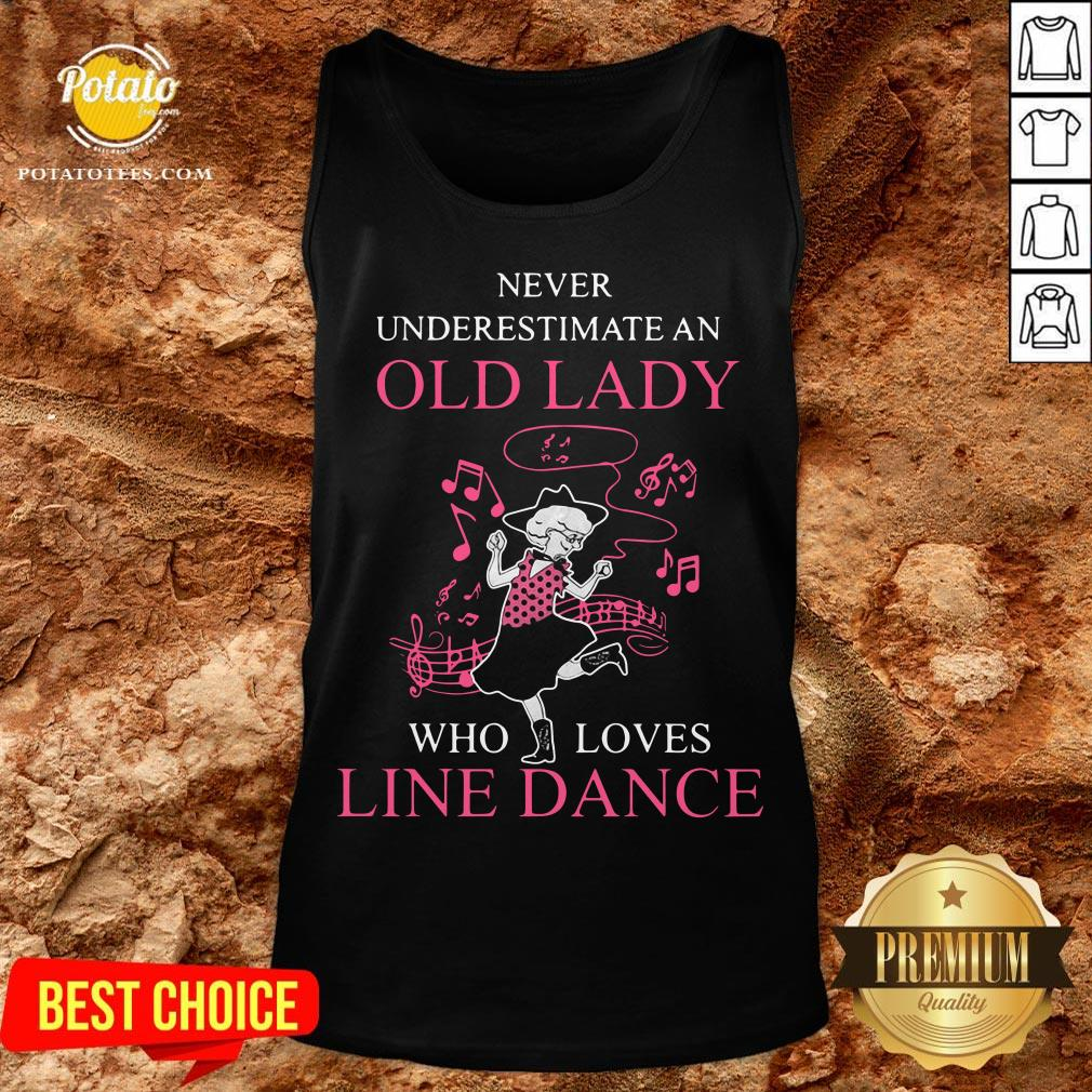 Never Underestimate Old Lady Who Loves Line Dance Tank Top - Design By Potatotees.com