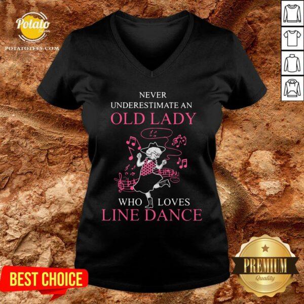Never Underestimate Old Lady Who Loves Line Dance V-neck - Design By Potatotees.com