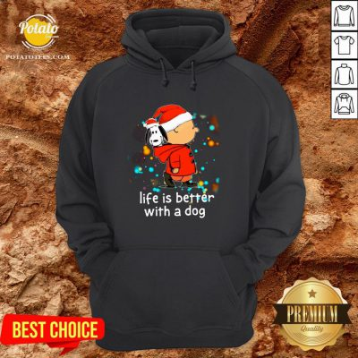 Nice Charlie Brown And Snoopy Life Is Better With A Dog Merry Christmas Hoodie - Design By Potatotees.com