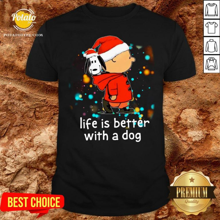 Nice Charlie Brown And Snoopy Life Is Better With A Dog Merry Christmas Shirt - Design By Potatotees.com