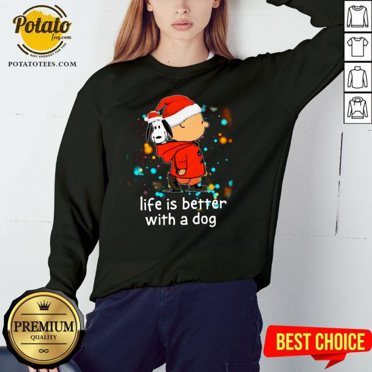 Nice Charlie Brown And Snoopy Life Is Better With A Dog Merry Christmas Sweatshirt - Design By Potatotees.com