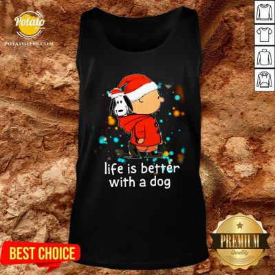 Nice Charlie Brown And Snoopy Life Is Better With A Dog Merry Christmas Tank Top - Design By Potatotees.com