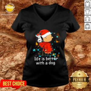 Nice Charlie Brown And Snoopy Life Is Better With A Dog Merry Christmas V-neck - Design By Potatotees.com