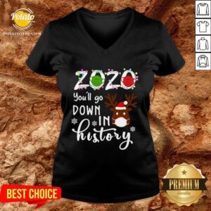 Nice Reindeer 2020 Face Mask You'll Go Down In History Christmas V-neck - Design By Potatotees.com
