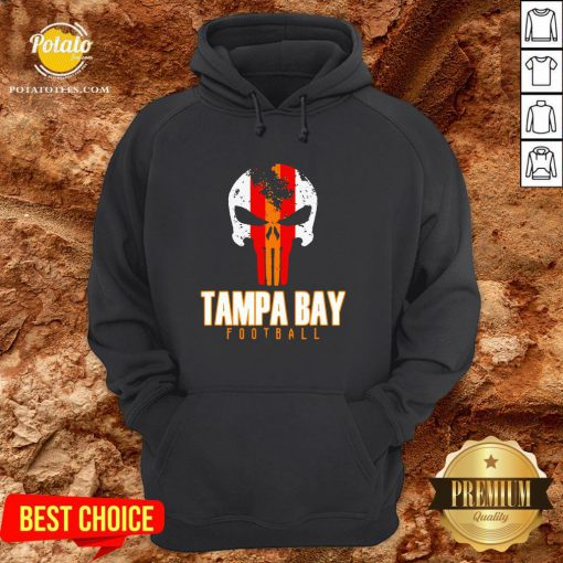 Nice Tampa Bay Varsity Style Retro Football Skull Hoodie - Design By Potatotees.com