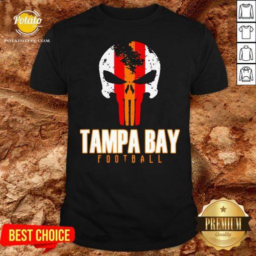 Nice Tampa Bay Varsity Style Retro Football Skull Shirt - Design By Potatotees.com