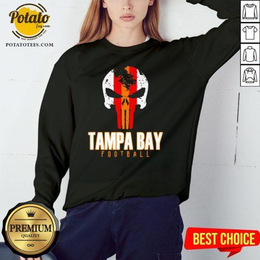 Nice Tampa Bay Varsity Style Retro Football Skull Sweatshirt - Design By Potatotees.com
