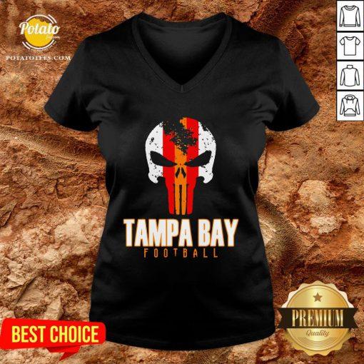 Nice Tampa Bay Varsity Style Retro Football Skull V-neck - Design By Potatotees.com