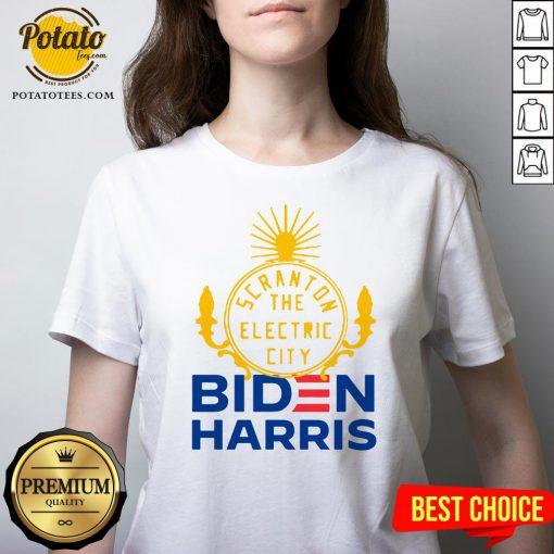 Official Biden Harris Marni Senofonte Scranton Electric City White V-neck - Design By Potatotees.com