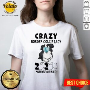 Official Crazy Border Collie Lady 2020 Quarantined V-neck - Design By Potatotees.com