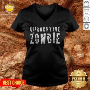 Official Quarantine Zombie V-neck - Design By Potatotees.com