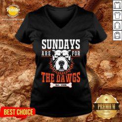 Pretty Sundays Are For The Dawgs Cleveland V-neck - Design By Potatotees.com