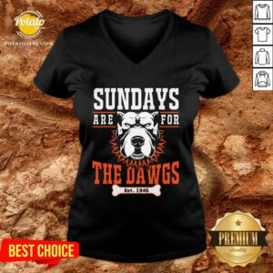 Pretty Sundays Are For The Dawgs Cleveland V-neck - Design By Potatotees.com