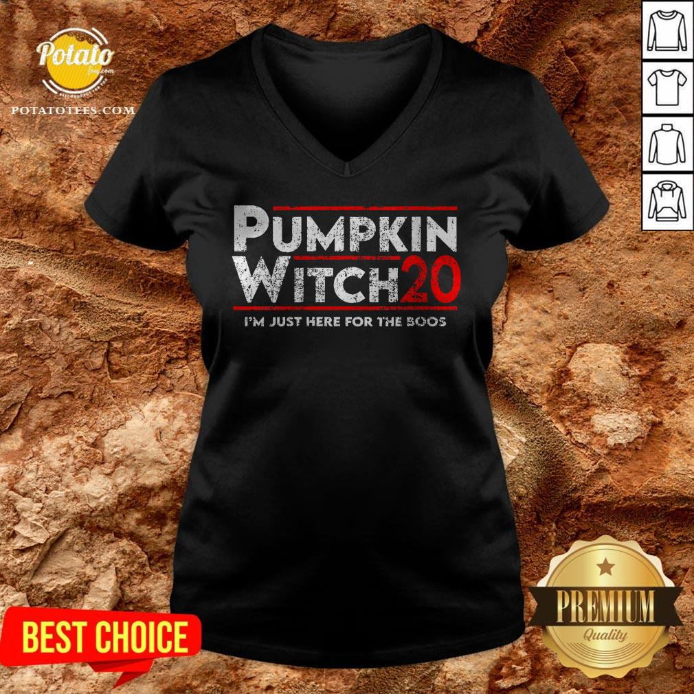 Pumpkin Witch Halloween Election 2020 I'm Just Here For The Boos V-neck - Design By Potatotees.com