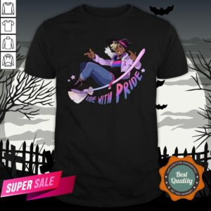 Ride With Pride Bi LGBT Witch Halloween Shirt