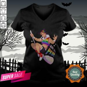 Ride With Pride Gay LGBT Witch Halloween V-neck