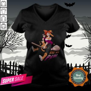 Ride With Pride Lesbian LGBT Halloween V-neck